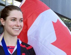 Mallory Johnston of Chatham wears her gold medal after helping Canada win the women's title at the 2015 International Street & Ball Hockey Federation championships in Zug, Switzerland. (Contributed Photo)