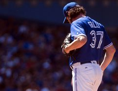 Toronto Blue Jays relief pitcher Jason Grilli reacts after a home run by New York Yankees second baseman Starlin Castro in Toronto on Saturday, June 3, 2017. (THE CANADIAN PRESS/Chris Young)