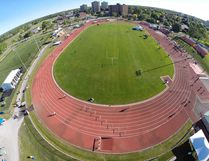 An aerial view of MAS Park and Bruce Faulds Track prior to the start of the 2017 OFSAA track and field championship which wrapped up Saturday. (Bob Forgues photo)