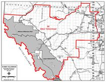 Under the Alberta Electoral Boundaries Commission's interim report, the Town of Whitecourt and Woodlands County would become the northeastern portion of the West Yellowhead riding (pictured), while most of Lac St. Anne County would join the new riding of St. Anne-Stony Plain (Alberta Electoral Boundaries Commission).