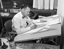 Merle (Ting) Tingley works on a cartoon in his office at The London Free Press in 1965. Tingley, who inspired countless cartoonists and a festival in his name, died Sunday at 95.
