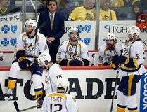 Predators coach Peter Laviolette and players pause at the bench during the third period against the Penguins in Game 5 of the Stanley Cup final in Pittsburgh on Thursday, June 8, 2017. (Gene J. Puskar/AP Photo)