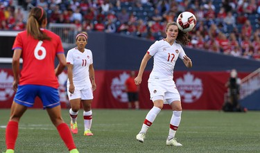 Canada M Jessie Fleming plays the ball during an international friendly soccer match against Costa Rica at Investors Group Field in Winnipeg on Thurs., June 8, 2017. Kevin King/Winnipeg Sun/Postmedia Network