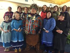 The first class of 11 students in the new bachelor of arts program in Ogwehoweh languages - seven in Cayuga and four in Mohawk - receive degrees in a ceremony this week in the main hall of Six Nations Polytechnic. Rebecca Jamieson, the school's CEO, is top right. (Michael-Allan Marion/The Expositor)