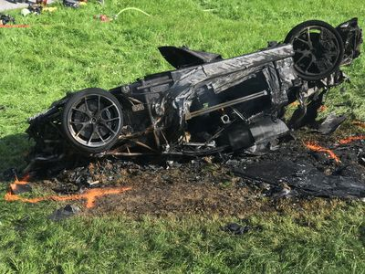 """This photo issued by Freuds shows the car that was involved in a crash where Richard Hammond escaped serious injury, in Switzerland, Saturday June 10, 2017. The makers of Amazon's car-themed TV show """"The Grand Tour"""" say presenter Richard Hammond has been in a serious crash while filming in Switzerland, but has escaped serious injury. (Freuds via AP)"""