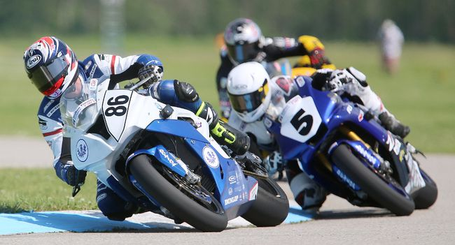 Ben Young of Collingwood leads Bodhi Edie of Sask. and Jordan Szoke of Lynden Ont, in the second half in the MOPAR CSBK Superbike Championship race at the Grand Bend Motorplex on Sunday June 11, 2017. Szoke ended up in second behind Edie after Young fell on lap 18 of 20 ending the race. This was the first national level motorcycle race at the Motorplex said owner Paul Spriet, who was happy with the turnout to watch the racing on their 2.25km course. (MIKE HENSEN, The London Free Press)