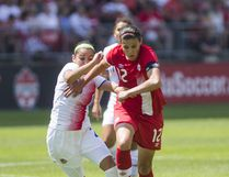 Canada's Christine Sinclair battles Costa Rica's Wendy Acosta during Women's International Friendly soccer action at BMO Field Toronto, Ont. on Sunday June 11, 2017. Ernest Doroszuk/Toronto Sun/Postmedia Network