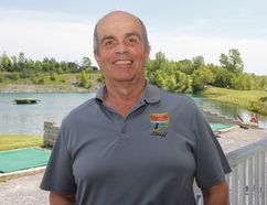 Pierre Dube, president and general manager of Kingston Expert Tees, at the local aquatic golfing range in Kingston. (Julia McKay/The Whig-Standard)