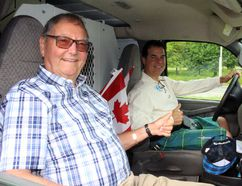 Gord Steed, left, and his son, James, are seen here in the van they drove from Edmonton to Stratford on Tuesday, June 13, 2017 in Stratford, Ont. The pair decorated the van and wore plaid in support of the Plaid for Dad prostate cancer awareness cause. (Terry Bridge/Beacon Herald)