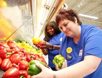 Jennifer Quesnel, Click and Collect manager, along with personal shopper Emilienne Nemem sort through some peppers at the Real Canadian Superstore in Sudbury, Ont. on Tuesday June 13, 2017. Gino Donato/Sudbury Star/Postmedia Network