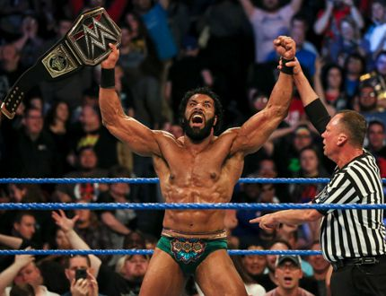 New World Wrestling Entertainment champion Jinder Mahal celebrates after defeating Randy Orton at Backlash in May to capture his first career title. (Ricky Havlik/SLAM! Wrestling)