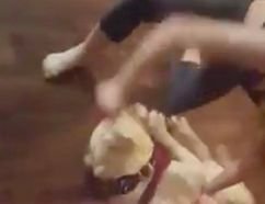 A screen capture from a video circulating on social media of a dog being allegedly beaten by its owner in Sudbury.