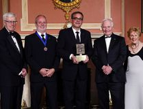 Russell Mills, left to right, president of the Michener Awards Foundation, London Free Press reporter Randy Richmond and Joe Ruscitti, editor in chief of the London Free Press, pose for a photo after receiving the Michener Award for Journalism from Governor General David Johnston as Sharon Johnston looks on at Rideau Hall, the official residence of the Governor General in Ottawa, Wednesday, June 14, 2017. (THE CANADIAN PRESS)