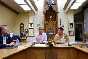 Intelligencer file photo by Jerome Lessard Long-time Lahr's lord mayorOberburgermeister, Dr. Wolfgan G. Mller was welcomed to Belleville, by city councillor and chair of the Sister Cities Committee Jackie Denyes during a welcome ceremony held in council chamber in 2013. The city will welcome the Lahr delegation's return to Belleville later this month.