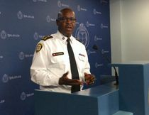 Chief Mark Saunders reveals details of Project Kronic, a massive gang sweep focused on the Driftwood Crips, at Toronto Police Headquarters on Thursday, June 15, 2017. (Chris Doucette/Toronto Sun)