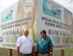 Leon Leclair, left, co-chair of the 2018 International Plowing Match & Rural Expo, and Jean Laprise, who is chairing the land committee and agricultural education committee, are pictured during the official sign unveiling held just outside of Pain Court, Ont. on Thursday June 15, 2017, where the event will take place in September 2018. (Ellwood Shreve/Chatham Daily News)