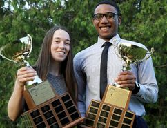 Brooke MacKinnon, left, of CKSS and Anthony Atkinson of McGregor won the Dr. Jack Parry Awards as the top graduating high school student-athletes in Chatham-Kent on Thursday, June 15, 2017. (MARK MALONE/The Daily News)