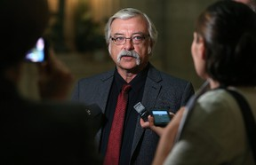 NDP labour critic Tom Lindsey speaks to reporters after Question Period at the Manitoba Legislative Building in Winnipeg on Tues., May 16, 2017. Kevin King/Winnipeg Sun/Postmedia Network