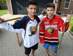 MORRIS LAMONT/THE LONDON FREE PRESS Ryan Suzuki, left, and his older brother Nick both collected a major junior award last week at Toronto's Hockey Hall of Fame. Ryan was the first overall pick in this year's OHL draft, and Nick is slated to be selected by in the first round of the NHL draft in Chicago, Ill., on Friday.