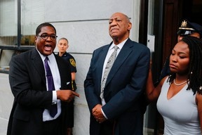 Andrew Wyatt, spokesperson of Bill Cosby speaks to media as they exit the courthouse after a mistrial on the sixth day of jury deliberations of his sexual assault trial at the Montgomery County Courthouse on June 17, 2017 in Norristown, Pa. (EDUARDO MUNOZ ALVAREZ/AFP/Getty Images)