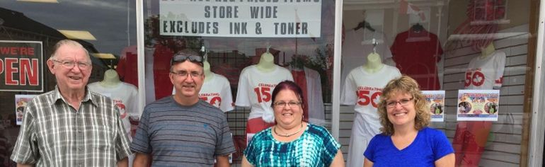 From the left, Gerald Martene, Pete Martene, Sandy Morey and Tammy Martene. Pete's Office Pro & P & T Fashions celebrated their 25th anniversary last Friday. (Submitted photo)