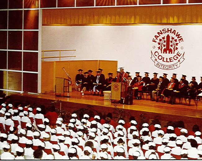 An early Fanshawe College class celebrates graduates in this photo, believed to be from the late 1960s. (Handout)