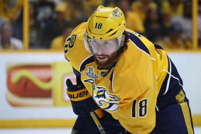 James Neal of the Nashville Predators prepares for the face-off against the Pittsburgh Penguins during Game 3 of the Stanley Cup Final at the Bridgestone Arena on June 3, 2017. (Bruce Bennett/Getty Images)