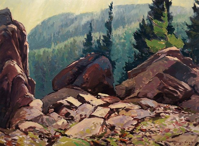The oil painting Vers le Massif by London artist Kevin Bice is among the landscapes in a Westland Galley show for Confederation's 150th year.