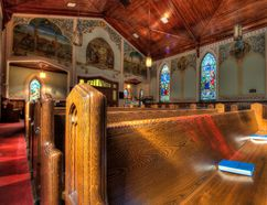 Paintings and murals inside St. Jude's Anglican Church earned a designation in 1996 by the Historic Sites and Monuments Board of Canada. (Brian Thompson/Expositor file photo)