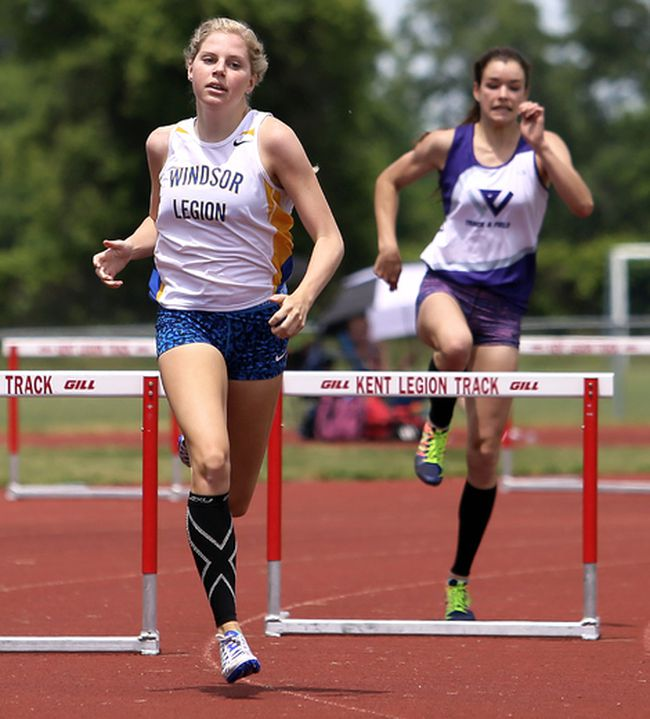 Ally Oulds of Chatham competes in the youth girls' 400-metre hurdles at the Royal Canadian Legion district 'A' track and field meet at the Chatham-Kent Community Athletic Complex in Chatham, Ont., on Saturday, June 18, 2016. (MARK MALONE/The Daily News)