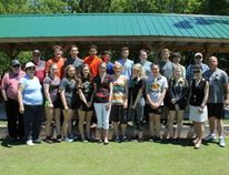 Chesley District High School's Grade 12 class stands with the Chesley Lawn Bowling Club for one final picture.