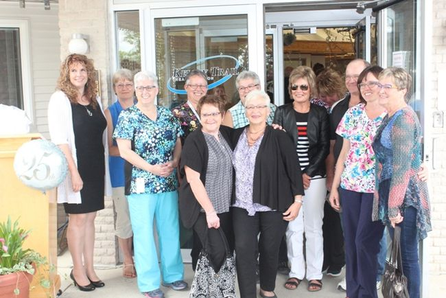 Some longtime and former staff members of Chateau Providence in St. Brieux posed for pictures in front of the building during their 25th Anniversary celebration on Friday, June 16.