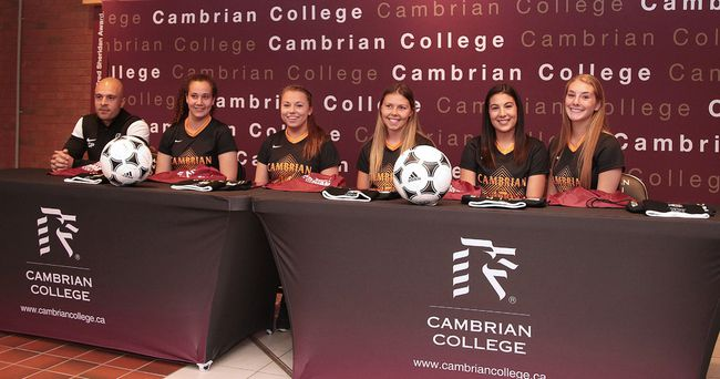 Cambrian College signed 15 student athletes to it's various varsity teams in Sudbury, Ont. on Monday June 19, 2017. Signing for the women's soccer team  with coach Giuseppe Politi are from left, Kaitlyn Rocca, Alexis Belanger, Ashley Nollner, Brianna Scarfone and Kayleigh Coufal.Gino Donato/Sudbury Star/Postmedia Network
