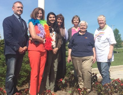 Members of Kincardine District Secondary School's Gay Straight Alliance (GSA) club recently joined with Bluewater School Board representatives at the Kincardine Municipal Administration Centre to raise the Pride flag. It will also fly at the Kincardine library and Davidson Centre. L-R: Taking part in the flag raising was Watson Morris, Jan Johnstone, Raza Hussein, Wendy Kolohon, Suzanne Kennedy, Joan Beecroft and Judy Lendon.