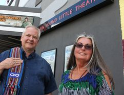 INDIGENOUS 150+ steering committee members Senator Ralph Wolf Thistle of the Great Lakes Métis Counciland Susan Schank of the Chippewas of Nawash at Neyaashiinigmiing. The first of three events to bring indigenous people's stories to the fore during Canada's 150th anniversary takes place at The Roxy theatre in Owen Sound Thursday night. (Nelson Phillips photo)