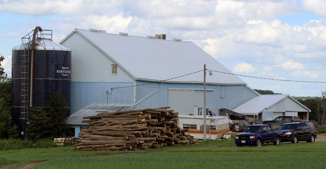 The barn where 12-year-old Samuel Zehr died in an accident is seen here on Tuesday, June 20, 2017 near Stratford, Ont. Zehr was killed Monday night when a bale of hay fell and crushed him, according to the family. (Terry Bridge/Beacon Herald/Postmedia Network)