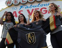 Models unveil the expansion Vegas Golden Knights' new jersey in Las Vegas on Tuesday, June 20, 2017. (AP Photo/John Locher)
