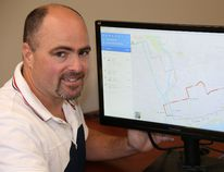 Jason Miller/The Intelligencer Transit manager, Matt Coffey, displays a computer monitor highlighting transit routes on Google Maps.