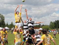 The Bow Valley Barbarians and the Banff Bears fight for a lineout during a Calgary Rugby Union Div. 3 clash at Mitford Park in Cochrane on Saturday.