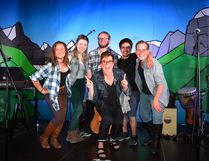 The cast of Banff Live Theatre's summer productions, left to right, Sarah Irwin, Tanya Pacholok, Greg Wilson, Theo Grandjambe, Nicholas Rose, and writer-director-producer Bridget Ryan (centre) at Monday's preview night.