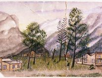 This is the oldest known painting of Siding 29, the settlement's name before it was renamed Banff in 1884. Siding 29 was located east of the old Buffalo Paddock toward Cascade waterfall.