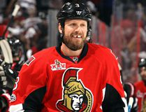 Marc Methot of the Ottawa Senators celebrates with his teammates after scoring in Game 3 of the Eastern Conference final May 17, 2017 in Ottawa. (Jana Chytilova/Freestyle Photo/Getty Images)