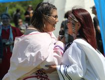 Inuit throat singers Tamara Takpannie, left, Janice Oolayou, performed during the National Aboriginal Day events held at the Participark in Timmins on Wednesday.