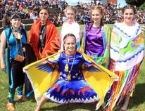 Sean Chase/Daily Observer Dressed in traditional regalia are (left to right) Blaze Belaire, Melissa Labrecque, Cali Duchene, Victoria Bergeron (bottom), Kellie Murdock and Alexis Gauthier. Events marking National Aboriginal Day were held at Pembroke's waterfront on Wednesday.