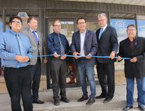 The Kinistin Saulteaux Nation celebrated the grand opening of the DeMar Petro Canada gas station in Melfort on June 21, National Aboriginal Day. From left to right are Aidan Lumberjack from the Kinistin Business Club, Bruce Slusar of Bruce Sulsar Law Office, City of Melfort Mayor Rick Lang, Kinistin Chief Greg Scott, Melfort MLA Kevin Phillips and Elder Orvin Scott.
