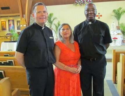 Standing in the chapel at St. Benedict's Roman Catholic Church Thursday, June 22, 2017 in Sarnia, Ont., are from left, Rev. Stephen Savel, pastoral minister Lee Downie and Rev. Augustine Ogundele. The church will host a visit by the relics of Saints Louis and Zelie Martin Saturday, with prayers and other services during the day. (Paul Morden/Sarnia Observer)