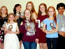 Timmins Porcupine Figure Skating Club presented a number of awards during its recent banquet at the Dante Club. Among the skaters receiving awards were, not in order: Abigail Forget and Julia Romualdi, Catherine Leroux, Jessie Fortier, Sabrina Riopel-Carrière, Savannah Gélinas, Valérie Faucher, Avenlea Cooper and Harnan Mylvaganam. SUBMITTED PHOTO