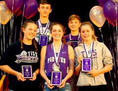 Top athletes pose during the Thousand Islands Secondary School Intermediate Athletics Banquet at the school's main gym on Thursday in Brockville. At back, from right, are top Grade 8 boy Matt Worden and Grade 7 boy Nathan Plant. At front, from left, are Grade 8 girl co-winners, twins Kaleigh and Teighan Wallace, and top Grade 7 girl Chloe Edgley. (RONALD ZAJAC/The Recorder and Times)