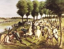 A painting by Toronto artist Alexander von Erichsen of the Battle of Ridgeway in 1866, currently featured in an exhibit at the Canadian War Museum in Ottawa called The Fenians – Unintended Fathers of Confederation. Courtesy of Fort Erie Historical Museum