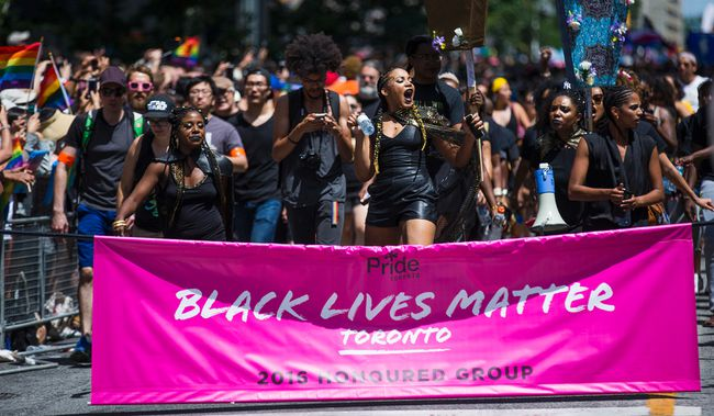 Black Lives Matter at Toronto's Pride parade on Sunday, July 3, 2016. (Ernest Doroszuk/Toronto Sun)